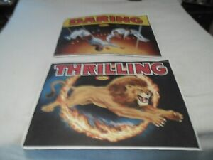 VINTAGE-KRAFT-CIRCUS-POSTERS-THRILLING-LION-DARING-TRAPEZE-ACT