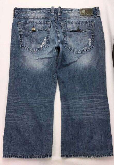 e816c6d4a1 B74 Rock Revival LAYNE Relaxed Straight Jeans sz 44 short (45.5x27 hem)  REPAIR