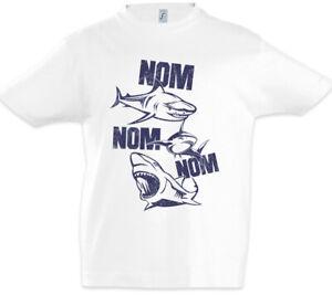 Sharks-Nom-Kinder-Jungen-T-Shirt-Weisser-Jaws-Hunger-Hungrig-Pizza-Essen-Hai-Haie