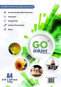 100 Sheets A4 Self Adhesive Glossy Photo Paper for Inkjet by GO Inkjet 5060386040354