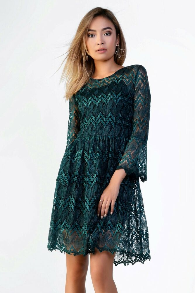Nouveau Glamour Bleu Sarcelle Vert Dentelle Robe Patineuse Chic Party Occasion Bal Look Uk 12