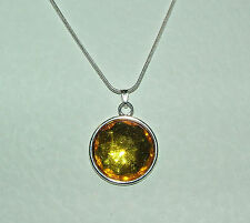 SIMPLE FACETED YELLOW ACRYLIC CRYSTAL PENDANT SILVER PL MOUNT & ROUND CHAIN