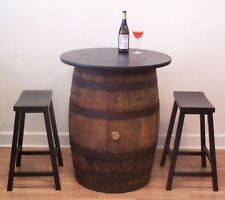 "Whiskey Barrel Pub-Bistro-Bar Table w/ 30"" Table Top - (2) 24""  Bar Stools"