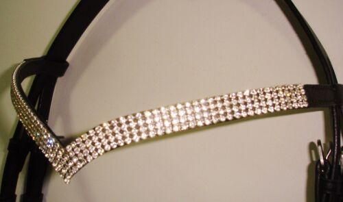Förmigen 4 Reihen Silber Kristall Stirnriemen Pony 35.6cm Neu Designer V