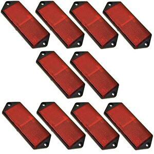 PerséVéRant Rouge Large Rectangulaire Arrière Réflecteur Pack De 10 Remorque Barrière/gate Post Tr07-afficher Le Titre D'origine Handicap Structurel