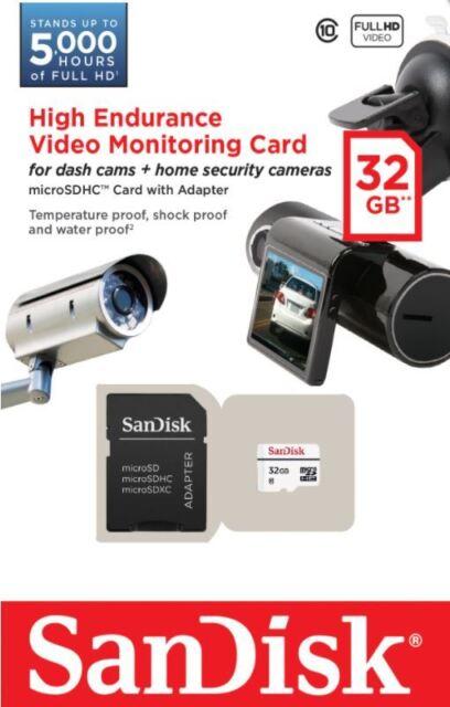 SanDisk 32GB High Endurance Video Monitoring Dash Cam Micro SDXC Memory Card