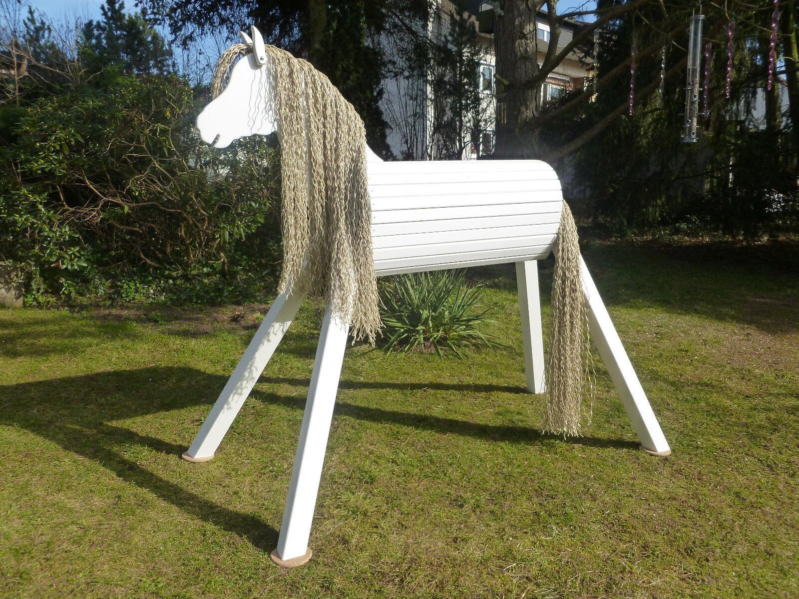 110cm Holzpferd Voltigierpferd Pferd Pony weiß mit Maul wetterfest lasiert