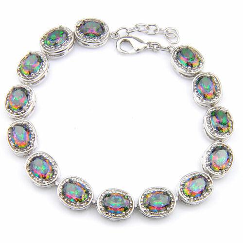 """Handmade arco iris místico fuego topacio 925 Sterling plata 7.5/"""" banda #n01965"""