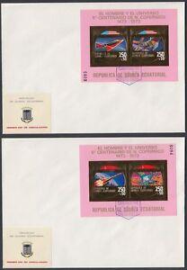Aquatorial-Guinea-1973-FDC-Bl-A70-A71-Weltraum-Space-Espace-Kopernikus-Gold-Foil
