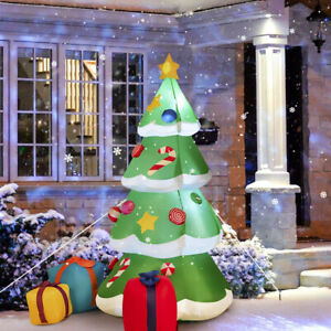 6' Inflatable Christmas Tree w/ Gift Boxes LED Bulbs Blow Up Yard Decoration