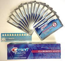 28 dientes de gran Blanqueadora Tiras Blancas + Crest 3D White Glamour Luxe Pasta de dientes