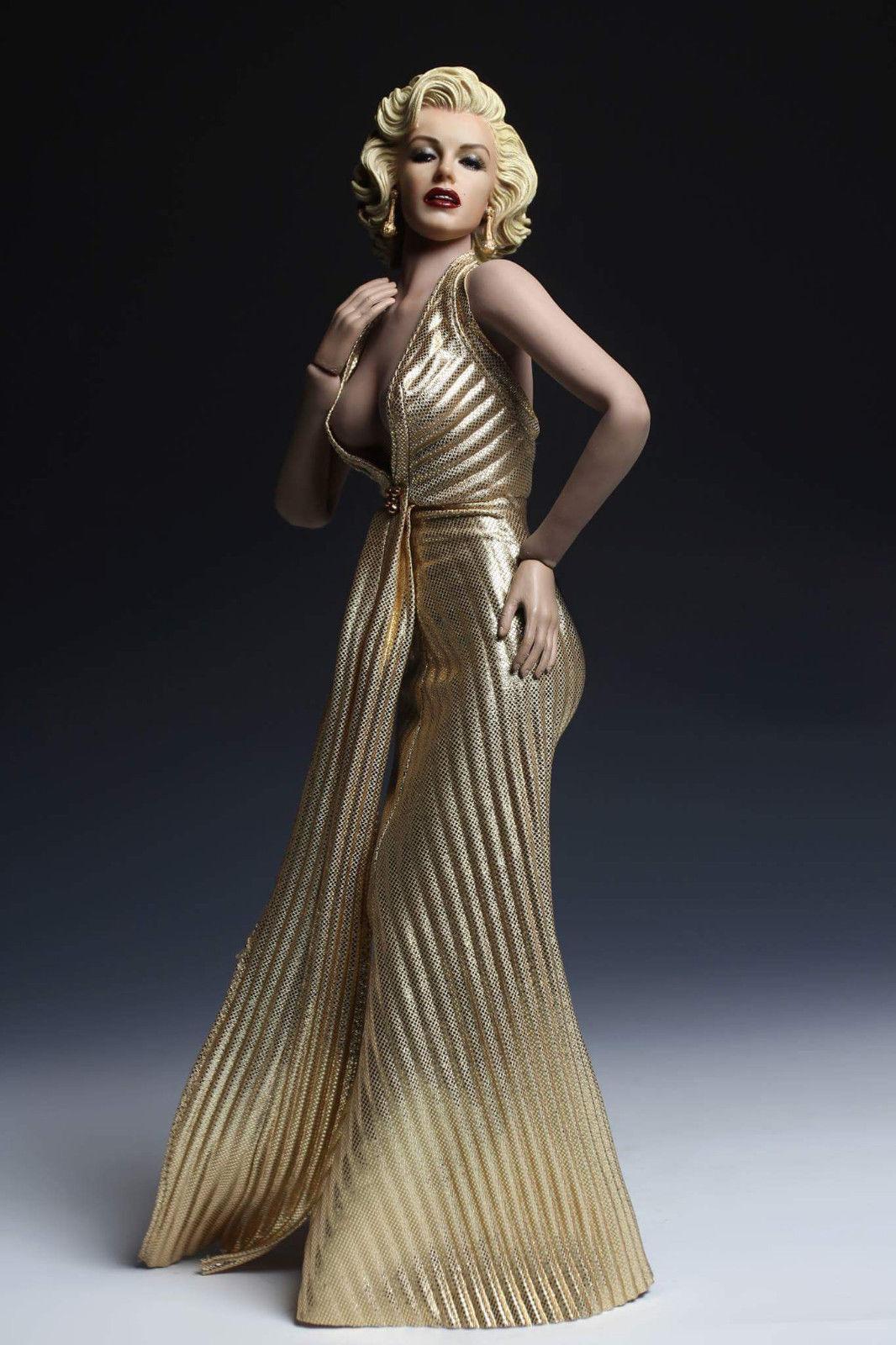 Hazlo tú mismo 1 6 Marilyn Monroe Muñeca Figura Femenina ph y juguetes de colección de cabeza vestido de oro