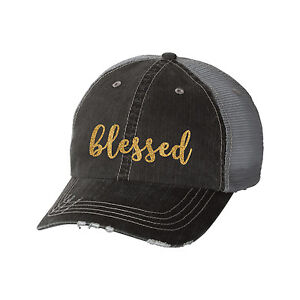 97dd38d1d7f Image is loading Blessed-Distressed-Glitter-Ladies-Trucker-Hat -Inspirational-Inspire