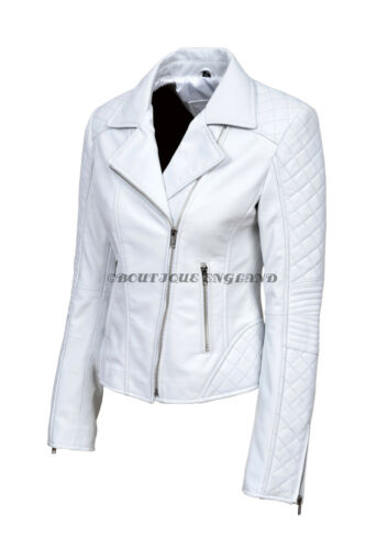Ladies  White Biker Style Quilted Sleeve Short Soft Real Leather Jacket JESSIE