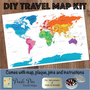 Diy colorful world push pin travel map kit ebay image is loading diy colorful world push pin travel map kit gumiabroncs Image collections