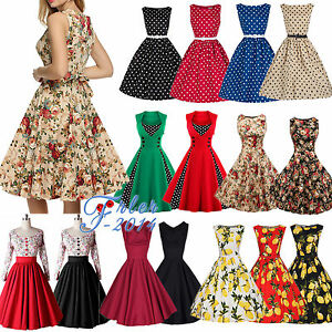 Women-50s-60s-Rockabilly-Dress-Vintage-Swing-Pinup-Retro-Housewife-Party-Dress