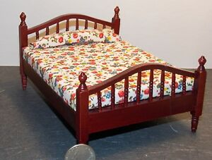 Image Is Loading Dollhouse Miniature Double Bed Mahogany 1 12 One