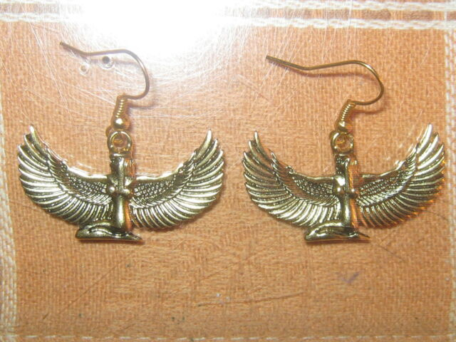 NEW 35MM GOLD TONE EGYPT EGYPTIAN ISIS WINGED GODDESS CHARM DANGLE EARRINGS