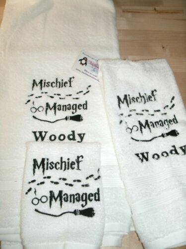 Harry Potter Mischief Managed Personalized 3 Piece Bath Towel Set Any Color