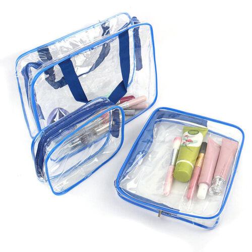 3pcs Maquillage Cosmétique Toilette CLAIR PVC Voyage Zippé Lavage Sac Pochette set uked