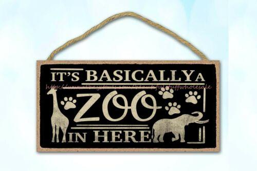 its basically a zoo in here funny door plaque wood sign living room de plaque