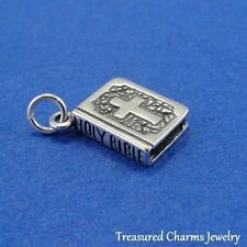 .925 Sterling Silver HOLY BIBLE CHARM Prayer Book PENDANT *NEW*