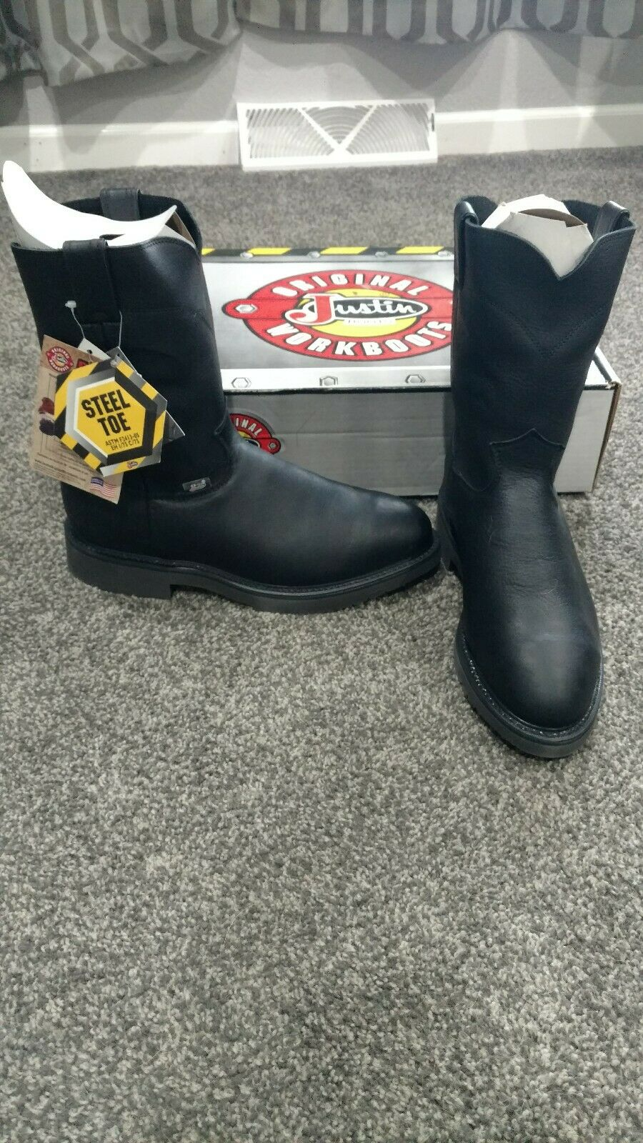 8419035dcd9 Justin work boots steel toe 9 2 extra wide 10 shaft pitstop style ...
