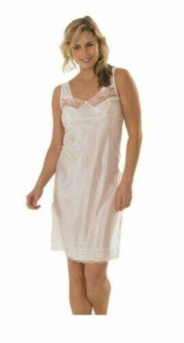Damen Voll Länge Slip Petticoat Unterrock Größe 10 12 14 16 Sich 32 Weiß Schwarz