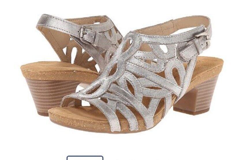 Josef Siebel Ruth 03 Cristal Metallic Open Open Open Toe Sandals 8.5 M EU 39 Leather 6213f5