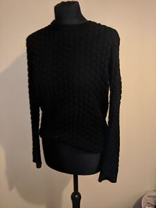 0967d19be3a Image is loading black-textured-long-sleeve-woolly-jumper-size-M-H-
