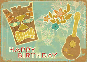 4 greeting cards hawaiian happy birthday vintage tiki ukulele ebay image is loading 4 greeting cards hawaiian happy birthday vintage tiki m4hsunfo