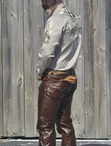 Herren-Echtleder-Levi-039-s-501-Style-Biker-Pants-Vintage-Antik-Rindsleder-Hose