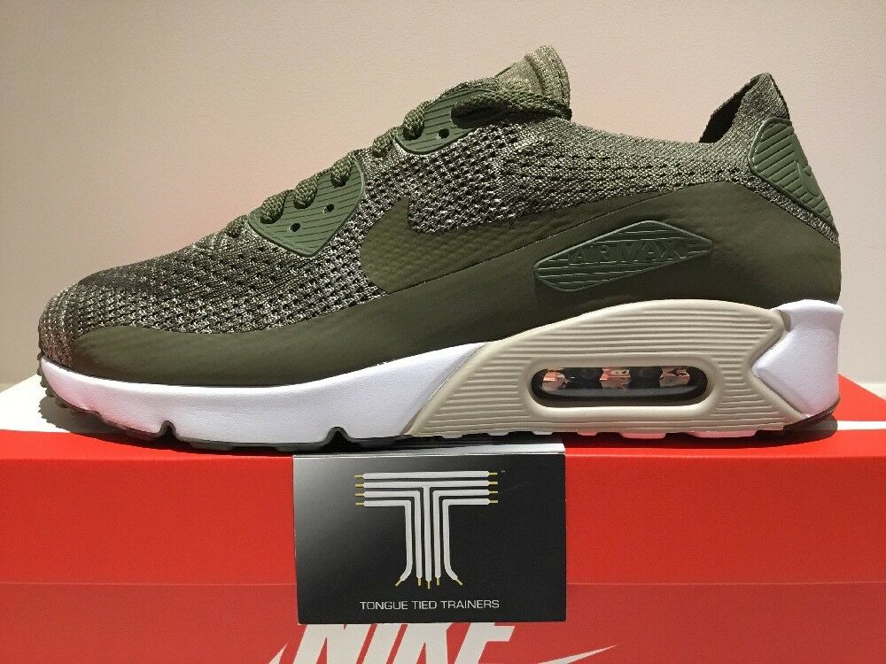 Nike Air Max 90 Ultra 2.0 Flyknit Green~ 875943 200 ~ Size 11.5 ~ Euro 47