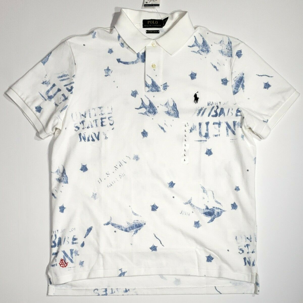 Polo Ralph Lauren White & bluee US Navy Watermark S S shirt  NWT