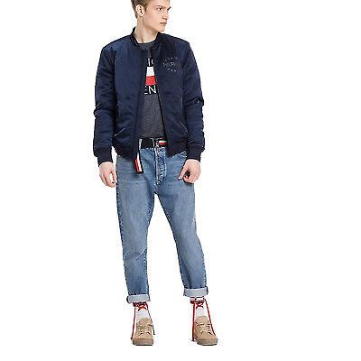 Umorismo Giubbino Uomo Mod. Bomber In Satin Tommy Jeans Dm0dm02861 Col. Blu Listino 199€