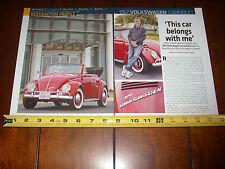 1967 VOLKSWAGEN VW CONVERTIBLE  - ORIGINAL 2014 ARTICLE LITERATURE