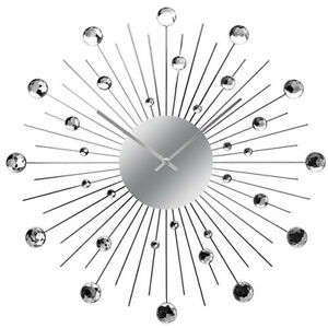 Extra Large Diamante Wall Clock Sprakle Crystal Silver