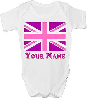GRO //BODYSUIT *GIFT /& NAMED TOO UNION JACK BRITISH FLAG PERSONALISED BABY VEST