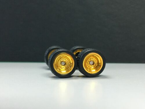 R001 Hot Wheels 1//64 SET /> Steelie Gold Axle Short RUBBER TIRE REAL RIDERS