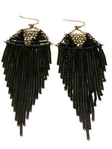 STATEMENT-Long-Big-Large-Black-Beaded-Crystal-Diamante-Drop-Dangle-Earrings-uk