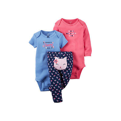 Carter/'s Baby Girl Long /& Short Sleeve Bodysuit /& Pants~Mommy/'s Happy Girl~3M