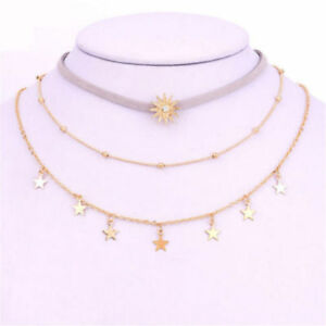 Women Multi-Layers Diamond Moon Sun Star Pendant Necklace Chain Choker