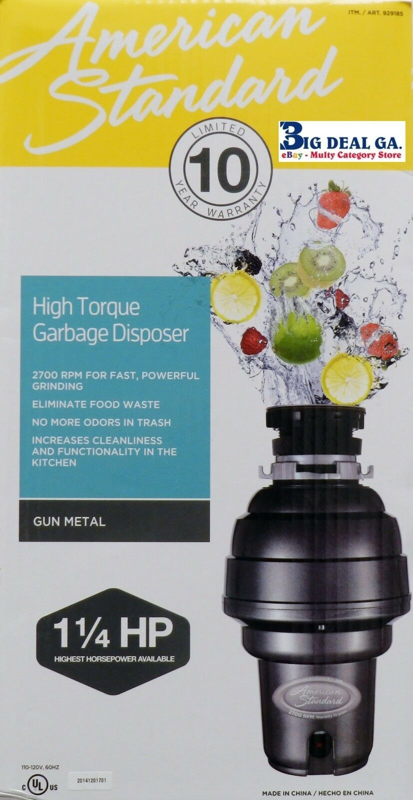 American Standard 1hp Kitchen Waste Disposer Food Garbage Sink ...