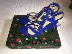 FSJ Women Shoes Blue Open Toe, High Heels Ankle Straps Size 9.5