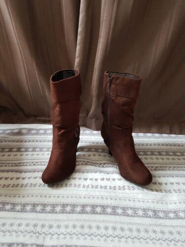 Rahmone femmes en daim marron style à Talon Bottes Mi-mollet-Taille 6 US8