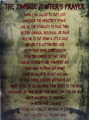 Zombie Hunters Prayer Sci-fi Horror Metal Sign