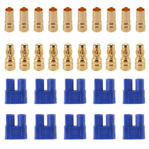 5-Paar-10-Stueck-EC3-Goldstecker-3-5mm-Gold-Stecker-Buchse-60A-Blau-RC634