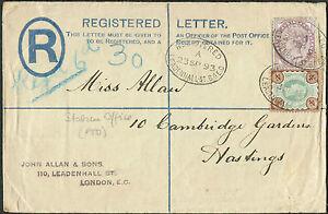 1893 Registered 2d 4d 1d Station Office Hastings