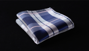 Silk Pocket Square Blue Striped Grey Checkered handkerchief