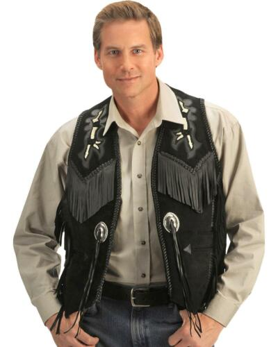 Sleeveless Made Style Fringe Coat Suede Hand Mens Black Wear Leather Cowboy Axq4Cp